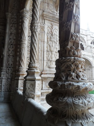 Jerónimos Monastery, built in 1495. Be sure to enlarge the picture, as the intricate stonework is very beautiful.