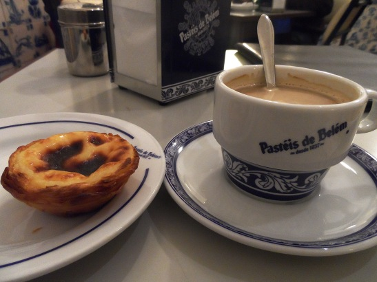 Pasteis of Belem. These famous pastries have a crunchy shell and soft vanilla custard in the middle. Very delicious!