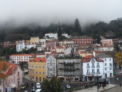 View of the town of Sintra from inside the Sintra National Palace.