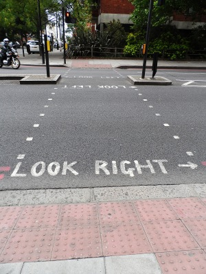 The rest of the world looks left before crossing the street, so I liked these reminders!