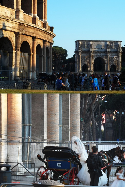 Getting married outside the Colosseum, not bad.