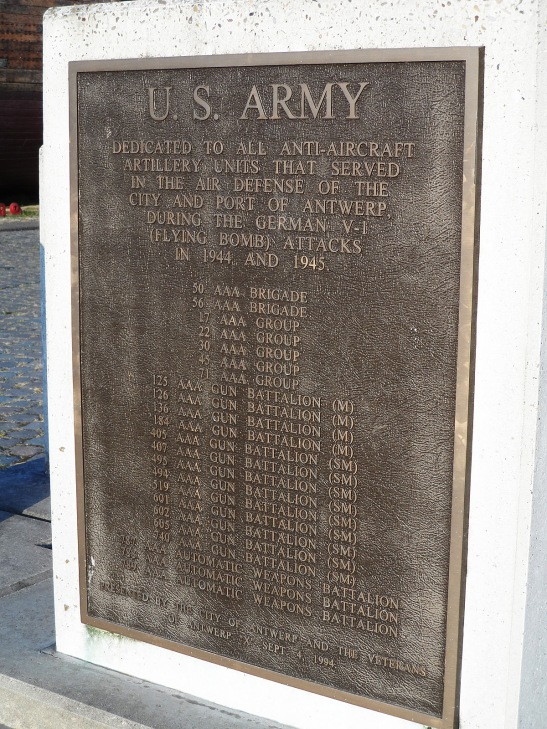 A plaque honoring the US Army soldiers that defended the city against the buzz bombs in WWII. My grandpa always talked about this battle, I guess it was pretty memorable for him.