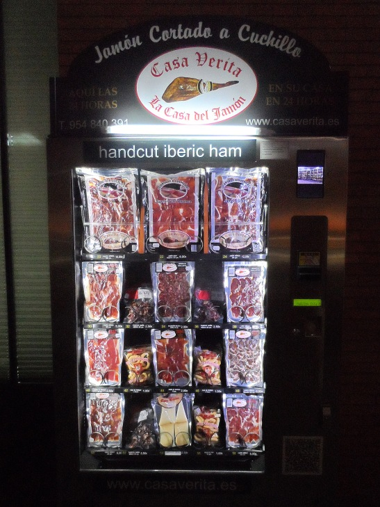 A jamón vending machine in the Sevilla train station, for all your immediate jamón cravings that just can't wait.